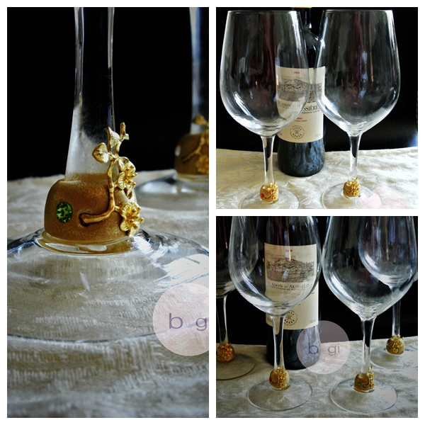 wineglass gold collage